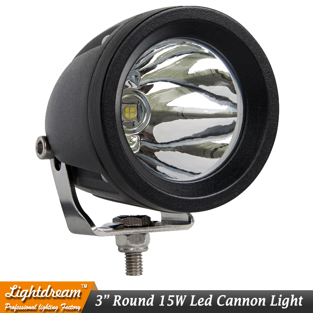 15W 3Inch round LED Work Light 12V 24V Car Motorcycle Truck SUV Bicycle ATV 4X4 4WD AWD UTE Tractor Trailer cannon headlight x1
