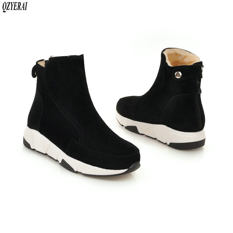 QZYERAI New arrival winter warm snow boots women flat fur fashionable and casual shoes size 34-43