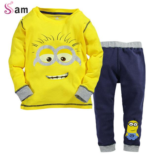 2015 Nuevos Bebés Despicable Me Minion Algodón Que Arropan 2 unids Niños manga Larga T camisa y Los Pantalones ropa