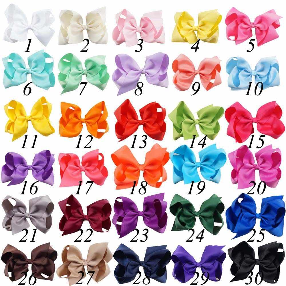 30 цветов, 6 дюймов, милая сплошная корсажная лента, лента для волос, бант для маленьких девочек, детские классические заколки для волос ручной работы, модные аксессуары для волос