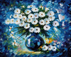 60X50cm DIY Full Drill Diamond Painting Cross Stitch Blue Daisies Printed Draw Picture Round Rhinestones Embroidery
