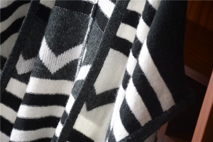 amp; Contraste Angleterre La Femmes Chandail One Sans V Style Couleur Polyamide Tricot Sur Col Taille Black En Laine Rayé Cardigan Manches qXaqBS