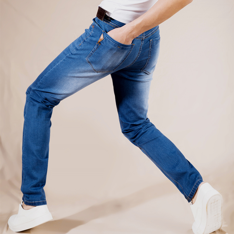 2018 Summer Jeans Men New Stretch Cotton Breathable And Comfortable Jeans Fashion Casual Mens Lightweight Slim Denim Trousers