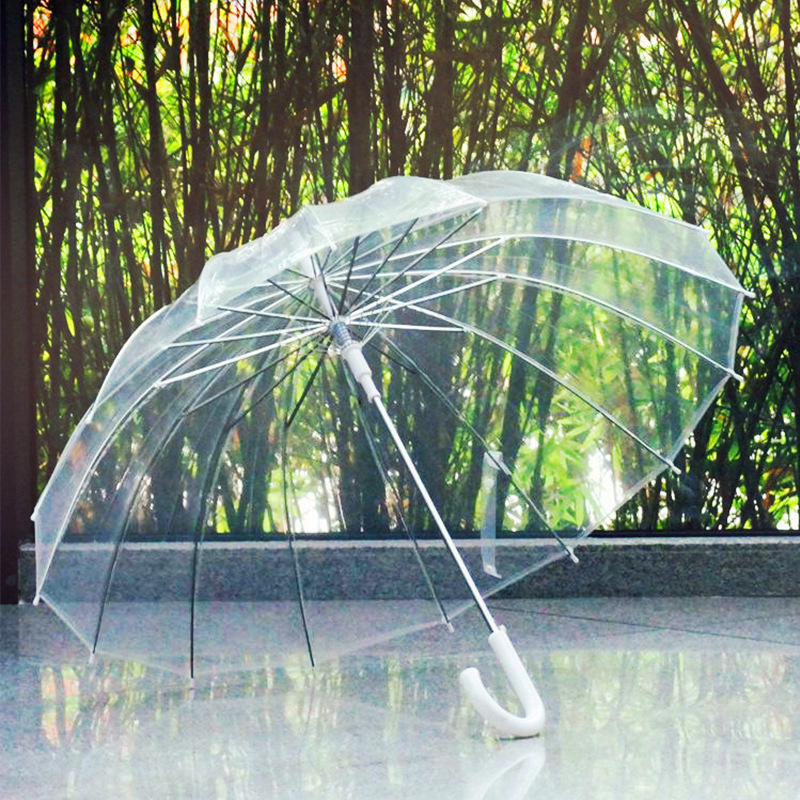 Semi Automatic Transparent Umbrellas For Protect Against Wind And Rain Long Handle Umbrella Clear Field Of