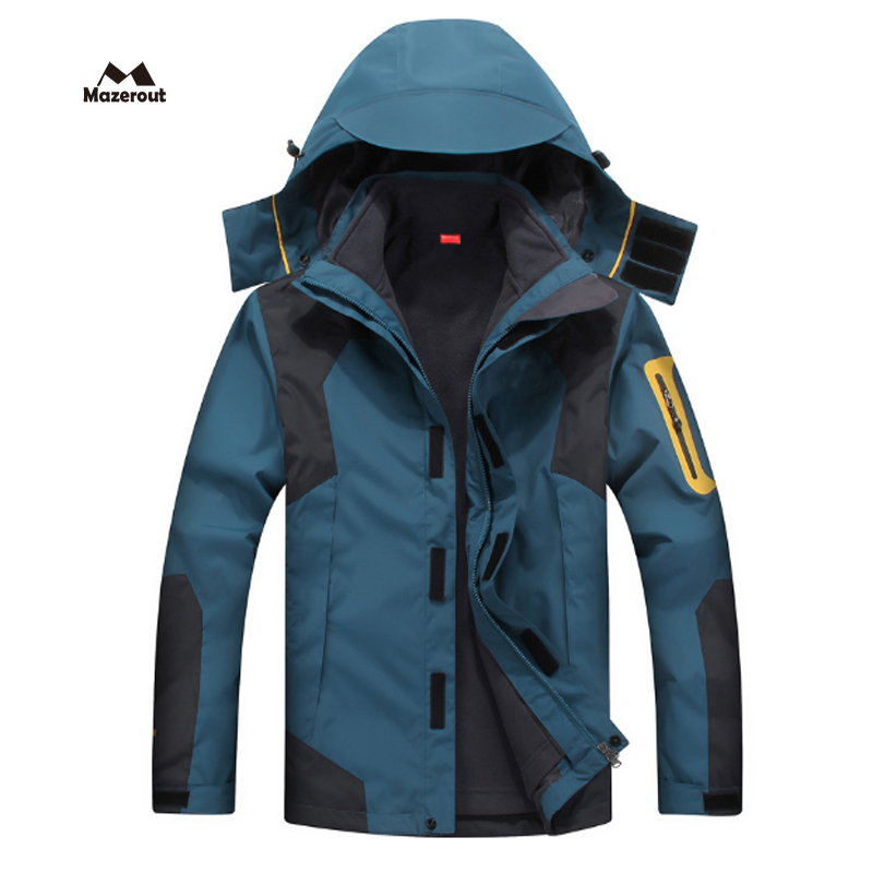 MAZEROUT Man New Skiing 3 in 1 Waterproof  Jackets Fishing Winter Windproof Outdoor Hoodie Camping Trekking Hiking Travel 5XL J3 yin qi shi man winter outdoor shoes hiking camping trip high top hiking boots cow leather durable female plush warm outdoor boot