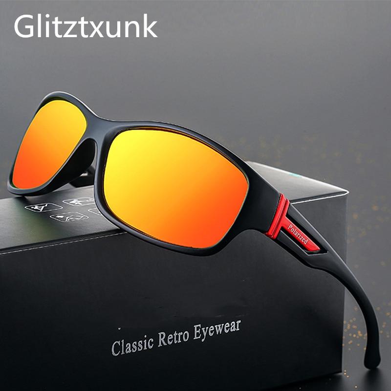 Glitztxunk 2019 New Sports Polarized Sunglasses Men Women UV400 Vintage Square Sun Glasses For Men Outdoor Eyewear Okulary