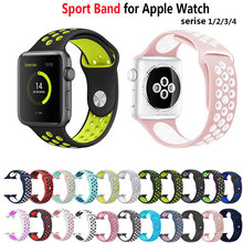 Soft Silicone Sport Band For Apple Watch 38mm Series 3 4 42mm Wrist Bracelet Strap For apple watch Series 1 2 strap 44mm 40mm цена и фото