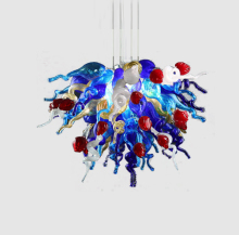 Free Shipping 100% Hand Blown Artistic Lamp Flower Shape Glass Chandelier