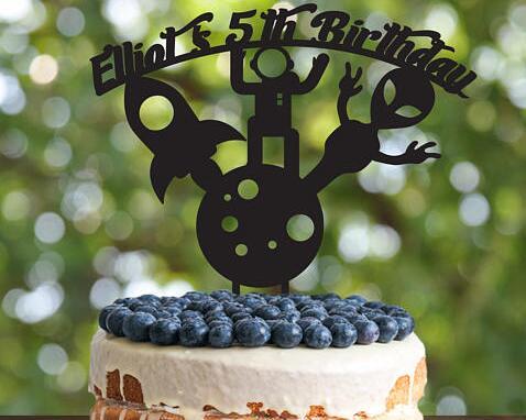 Pleasant Personalized Alien Spaceman Rocket Boys Birthday Acrylic Cake Funny Birthday Cards Online Elaedamsfinfo