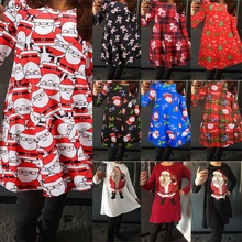 Multiful Prints Snowman Santa Clause Printing Happy Festival Christmas Day Ladies Christmas Day Clothes Party Dresses