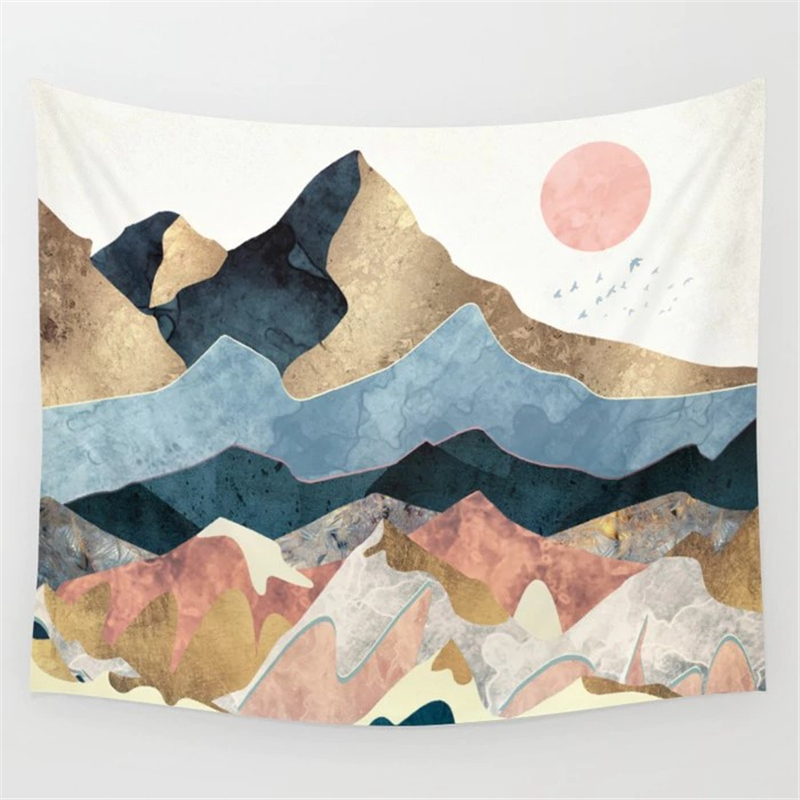 Nordic Pink Mountain Tapestry Decor Wall Hanging Abstract Hippie Boho Women Wall Carpet Cloth Psychedelic Tapestry World Map