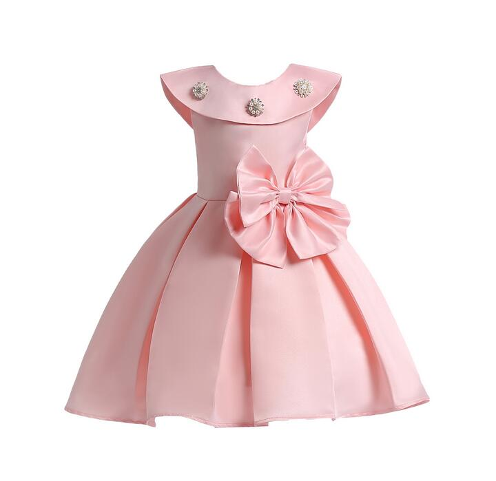 2018 Beading hem Girls Wedding Dress infantil Fancy princess Bow dress baby girl clothes tutu dresses summer kids party Frocks