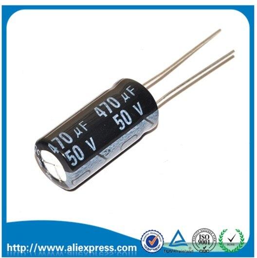 10ピース50ボルト470 uf 50ボルト/470 ufアルミ電解コンデンササイズ10*20ミリメートル470 uf 50ボルト電解コンデンサ