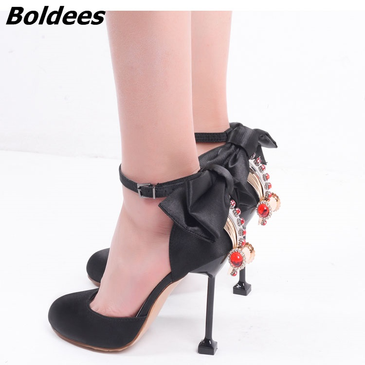 Boldees Pink Black Suede Silk Crystal Women Round Toe Ankle Wrap Sandals Diamond Fashion Bridal Shoes Bowtie High Heels Pumps Sh карабин black diamond black diamond rocklock twistlock