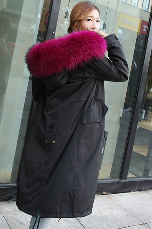 You Come From The Stars With A Fox Raccoon Fur Coat Liner Female Knee Paragraph Long Section Parka in Real Fur from Women 39 s Clothing