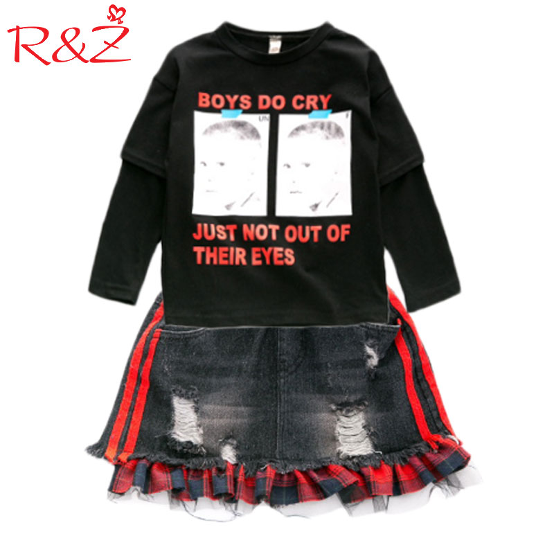 R&Z Girls Autumn 2017 New Children's Clothing Set Sweater Long-sleeved Jacket Pullover + Skirt Two-piece Suit Fashion Girls TOPS girls dress long sleeved knit cardigan sweater suit 2016 children clothing set two piece skirt autumn girls clothes tops