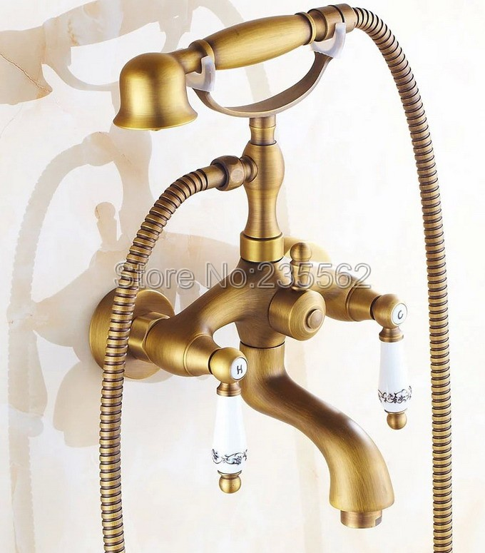 Antique Brass Finish Bathroom Shower Taps Wall Mounted Bathtub Faucet Set Dual Handle Cold and Hot Water Mixer Tap ltf313 antique bathroom single handle wall mounted bathtub shower set mixer set faucet tap bathroom shower free shipping hj 6053