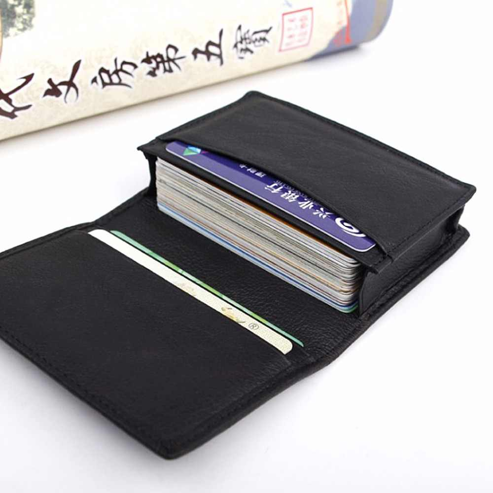 THINKTHENDO New Men Black Leather Credit Card ID Business Cards Holder Wallet Case Expandable Black Leather Card Holders
