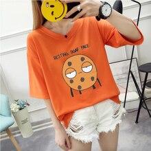 2019 Summer New Women's T-shirt Korean Fashion Cartoon Print Loose Large Size Casual Female Tshirts  V-Neck  Short Sleeve Tops все цены