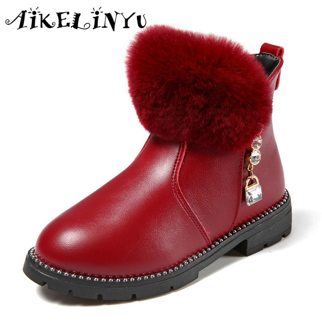 612cbbf9d7aad 2017 Winter Cute Girl Ankle Boots Kids Shoes Girls Rabbit Plush Princess  Fashion Boots Children Black Waterproof Snow Boots Kids