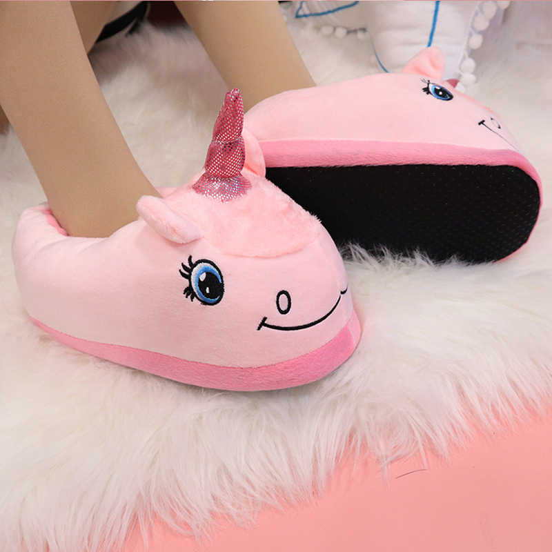 5ffc05700938 Warm Cotton Winter Women Home Slippers Soft Cartoon Unicorn Indoor Non-slip House  Slippers Girls