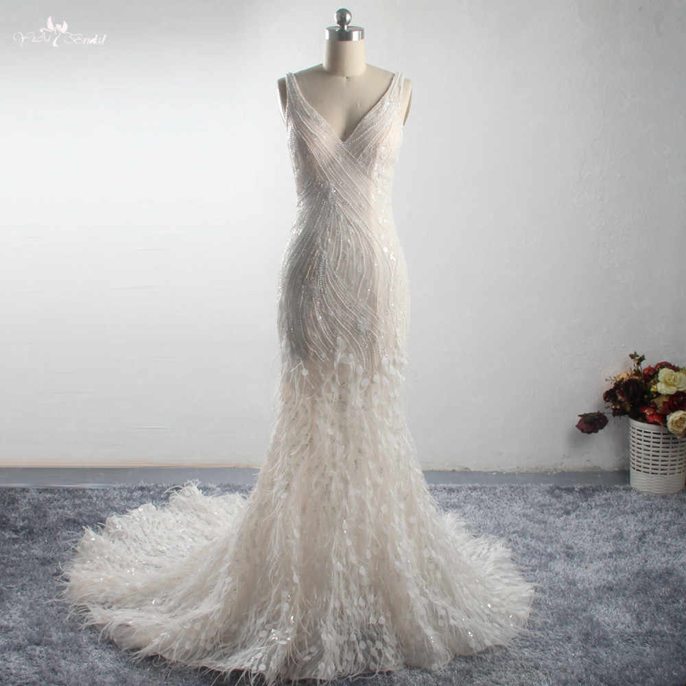 LZ288 New Design Light champagne Mermaid Wedding Dress Beaded Feathers Sleeveless Bridal Gown Vestido De Noiva