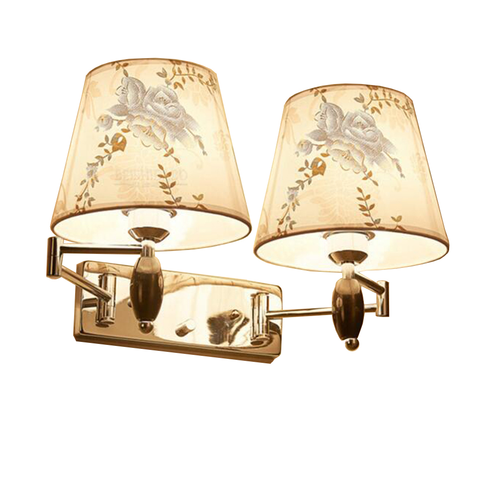 Modern luxury Wall Lamps European Style Bedroom Reading Lighting Corridor Lamp E27 Holder Paintings fabrics Lampshades,led lamps