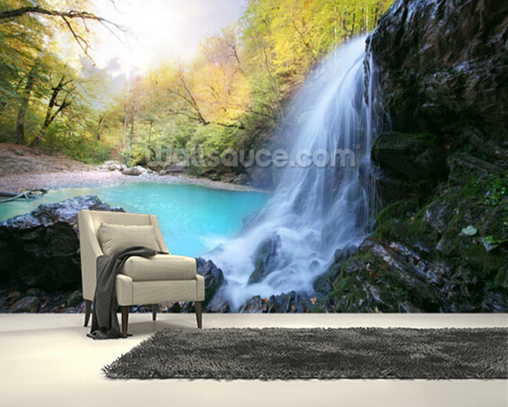 Custom photo wallpaper,Beautiful Waterfall 3d wallpaper for living room bedroom kitchen room wall waterproof PVC papel de parede