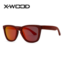 X-WOOD New Fashion Burgendy Wooden Polarized Sunglasses Men Women Designer Sunglasses Goggles Sunglass Lunette Soleil Femm
