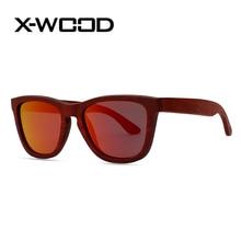 X-WOOD New Fashion Burgendy Wooden Polarized Sunglasses Men Women Designer Sunglasses Goggles Sunglass Lunette Soleil Femm