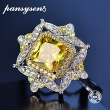 PANSYSEN Vintage Citrine Rings For Women Real 925 Sterling Silver Jewelry Luxury Yellow Gemstone Ring Wholesale Fine