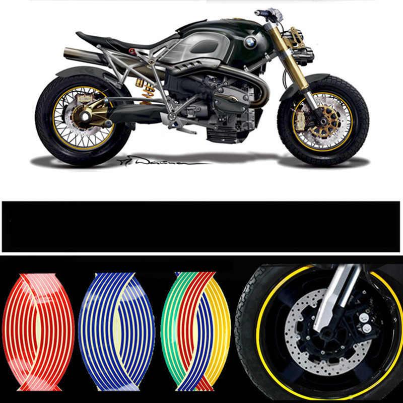 16 uds, tiras de 18 pulgadas, adhesivo para rueda de motocicleta, calcomanías reflectantes, cinta para llanta, cinta para bicicleta, estilo de coche para YAMAHA, HONDA, SUZUKI, Harley, BMW