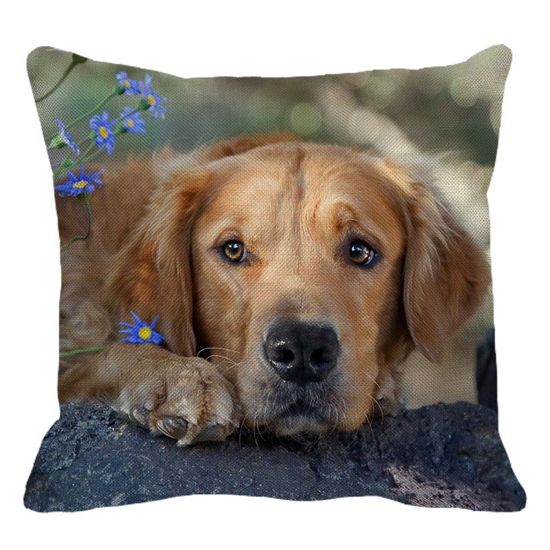 XUNYU Cute Pet Cushion Cover Golden Retriever Dog Throw Pillow Case Linen Cushion Cover Child Sofa Bed Decorative Pillowcase