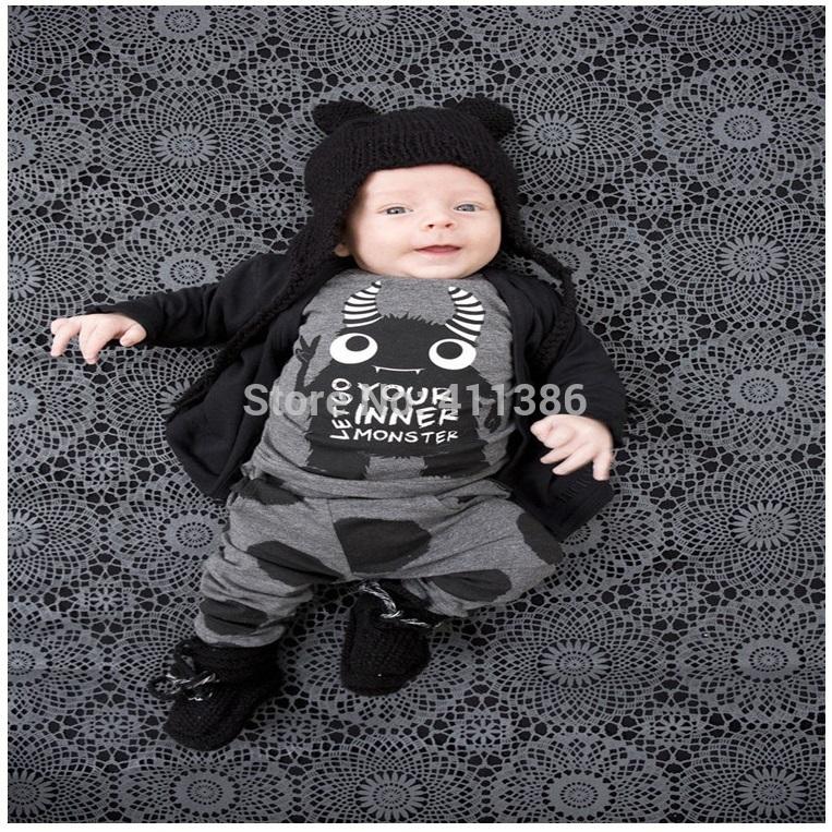 ST189 2017 Nowa dziewczyna przyjazdu i chłopców ubrania ustawić długi rękaw + Spodnie sowa wzór zestaw noworodka ubrania dla dzieci garnitur dzieci odzież 34