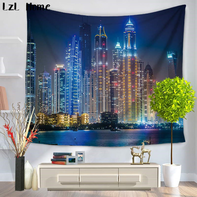 LzL Home Modern City Night Lights View Scene Building Tapestry Print Fabric  Wall Hanging Tapestry Wall