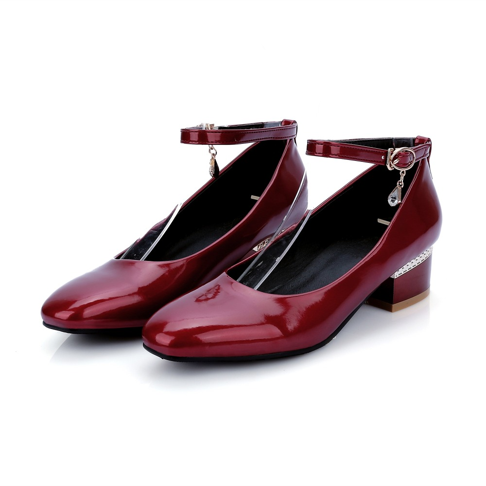 f394454650ab New women low heel shoes ankle strap red pumps wine colored heels chunky  heel mary jane shoes ladies heels leather work shoes-in Women s Pumps from  Shoes on ...