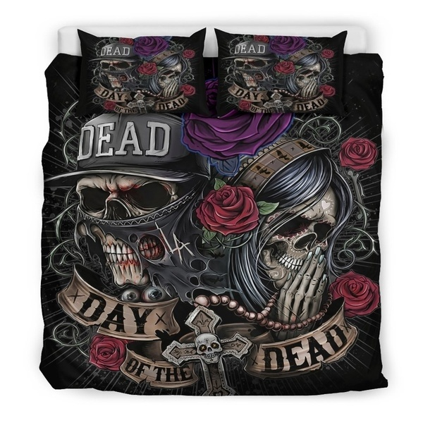 3D Digital Printing Skull Bedding Set For King Size Bed Europe Style 3D Sugar Skull Duvet Cover With Pillowcase