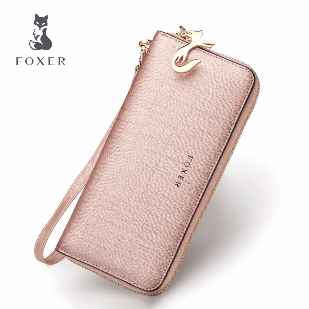 FOXER Brand Women Leather Wallets with Wristle Luxury Female Purse Womens Clutch Wallet & Credit Bag & Cellphone Bag For Women