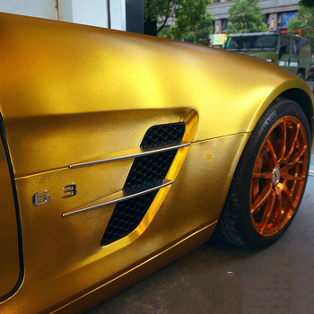 Brushed Matte Metallic Pearl covering film car carwrap with Air Bubble 1.52x18m/roll Gold Yellow