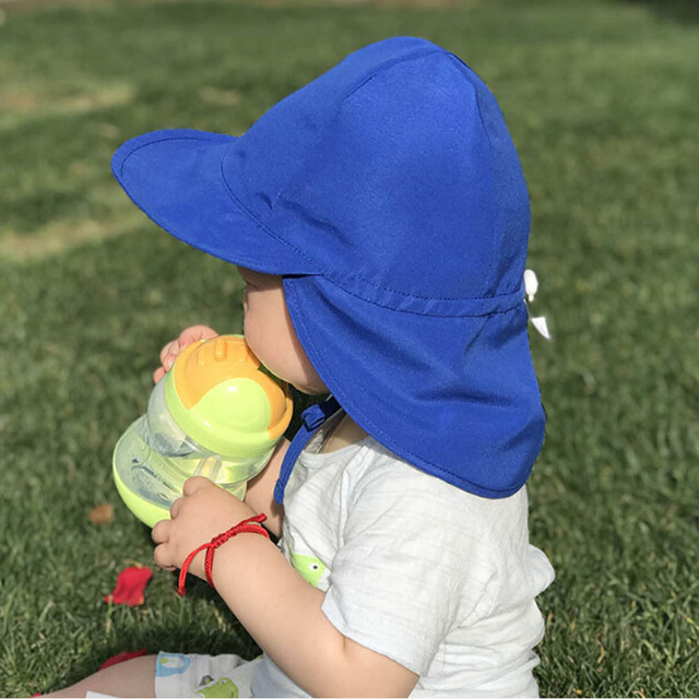 a9d0cdba4 US $4.46 10% OFF|Summer Baby Sun Hat Children Outdoor Neck Ear Cover Anti  UV Protection Beach Caps Kids Swimming Flap Cap UV Protection-in Hats &  Caps ...