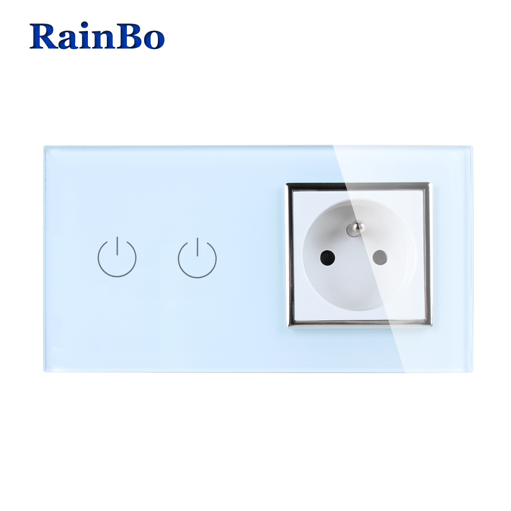 RainBo Luxury  Touch Screen Control Tempered crystal Glass Panel Wall Light Home touch Switch France Wall Socket  A29218FW/B eu us smart home remote touch switch 1 gang 1 way itead sonoff crystal glass panel touch switch touch switch wifi led backlight