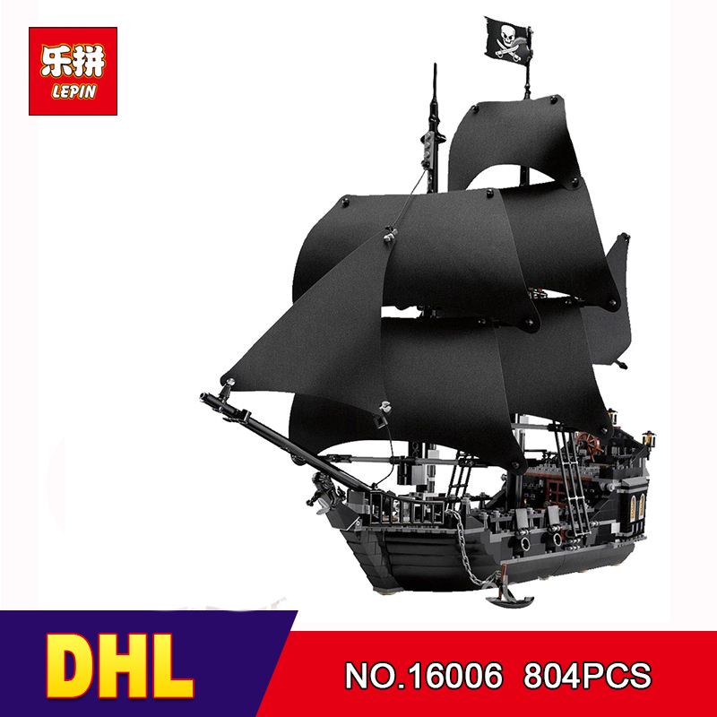 DHL Лепин 16006 804 шт. Строительный кирпич Пираты Карибского моря Черная жемчужина корабль модель игрушки Совместимость 4184