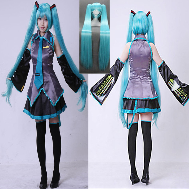 7piece Vocaloid Hatsune Miku Cosplay costume Maid suit Wig Set HalloweenJapanese Midi Dress Comic-con Party