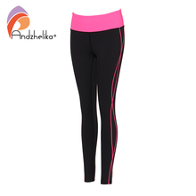 Andzhelika Women Leggings Gym Fitness Yoga Pants Elasticity Waist Sport Clothes Wear Sportswear Workout Trousers Jogging