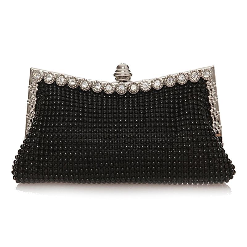5pcs( ABDB New Clutch Bag Rhinestones Purse Bridal Wedding Ladies Evening Prom Handbag, Black