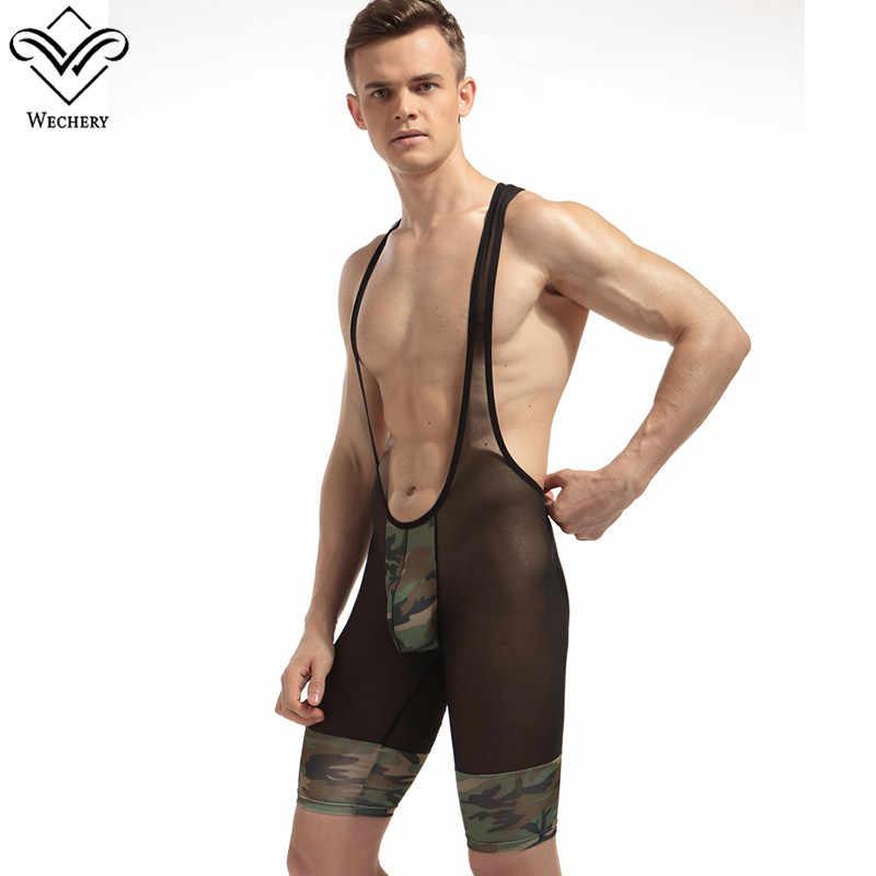 Wechery мужской боди формирователь тела армейский зеленый камуфляжные подтяжки с вырезами спандекс Корректирующее белье сексуальный комбинезон
