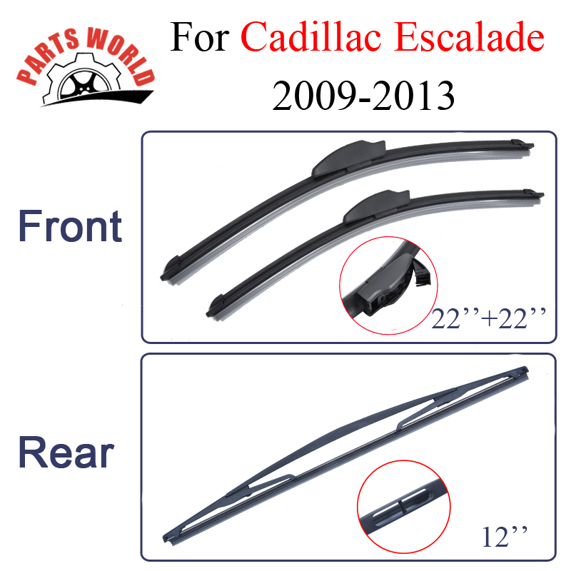 Combo Rubber Windscreen Front And Rear Wiper Blades For Cadillac Escalade,2009-2013.Windshield Wiper Car Accessories