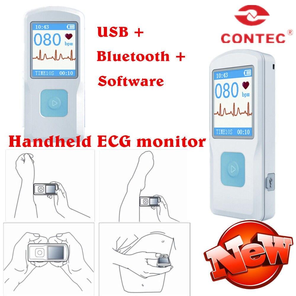 CONTEC PM10 New FDA Handheld Portable ECG EKG Machine Heart Beat Monitor LCD USB Bluetooth Software