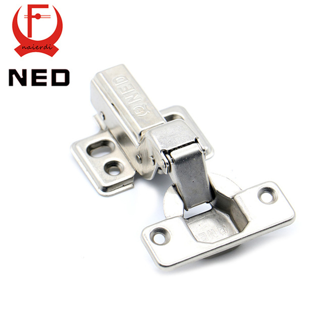 4PCS NED Hinge Rustless Iron Hydraulic Hinge Iron Core Damper Buffer Cabinet Cupboard Door Hinges Soft Close Furniture Hardware