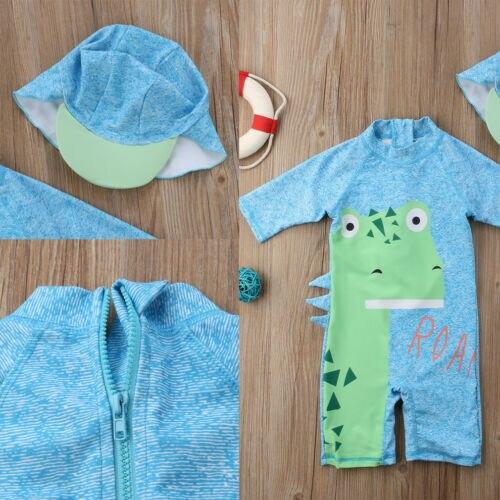 Neue Modish Baby Kinder Junge Sommer Strand Anmial Print Langarm Bademode Badeanzug Schwimmen Kostüm Badehose Einteiliges Anzüge + Hut Set